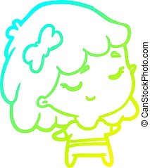 cold gradient line drawing cute happy girl