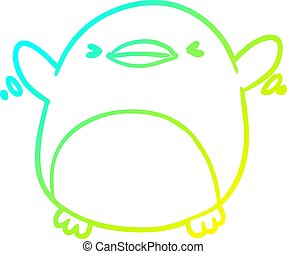 cold gradient line drawing cute penguin flapping wings