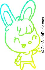 cold gradient line drawing cute rabbit