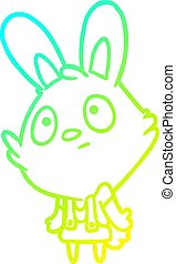 cold gradient line drawing cute rabbit shrugging shoulders