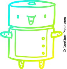 cold gradient line drawing cute robot