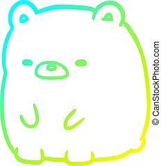 cold gradient line drawing cute sad bear