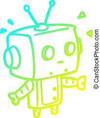 cold gradient line drawing cute surprised robot