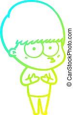 cold gradient line drawing nervous cartoon boy