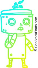 cold gradient line drawing uncertain cartoon robot - cold...