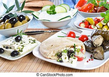 Greek appetizers - Cold Greek appetizers: stuffed flat bread...