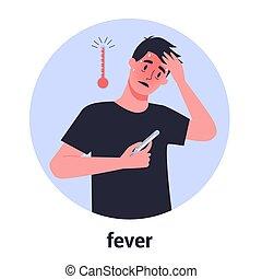 cold., grippe, symptôme, haute fièvre, homme, température