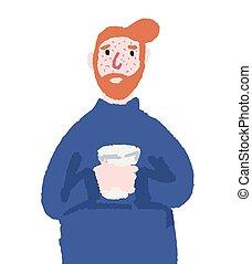 Cold guy is drinking tea hand drawn illustration. Sick man