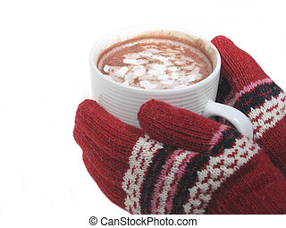 Cold Hands - Gloved hands holding hot cocoa