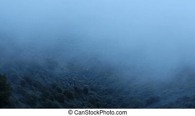"""""""Cold humid weather in mountains, hills in clouds of thick..."""