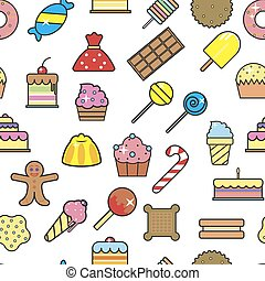 Cold ice cream dessert in crunchy waffle seamless pattern vector.