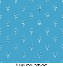 Cold ice cream pattern vector seamless blue