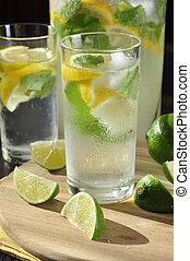 Cold lemonade in glass