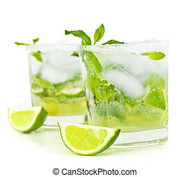 Cold mojito drink, glass of alcohol isolated over white...