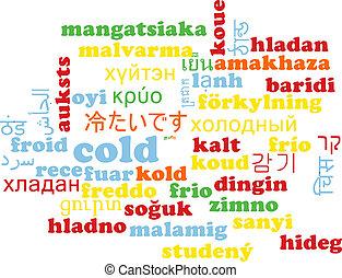 Cold multilanguage wordcloud background concept