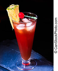 Cold red drink with ice cube in highball glass . - Cold red ...