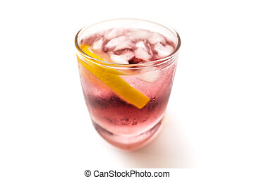 Cold refreshing berry drink with ice