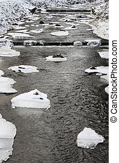cold river in the winter