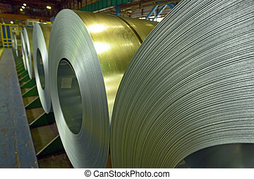 Cold rolled steel coils in storage area