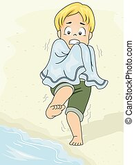 Cold Shivers - Illustration Featuring a Boy Afraid to Go...