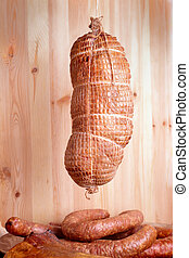 Cold smoked ham - Natural prepared slow food smoked pork ham...