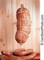 Cold smoked ham - Natural prepared slow food smoked pork ham...