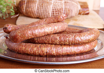 Cold smoked sausage - Natural prepared slow food smoked ring...