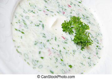 cold soup with choped vegetables and meat on the plate