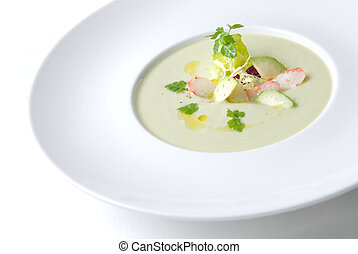 cold soup with crab on the plate