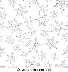 Cold steel shuriken seamless pattern - Seamless pattern of...