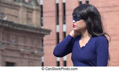 Cold Stressed Woman Wearing Sunglasses And Wig