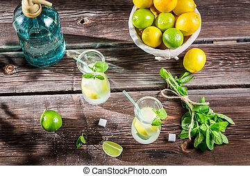 Cold summer lemonade with fresh fruit