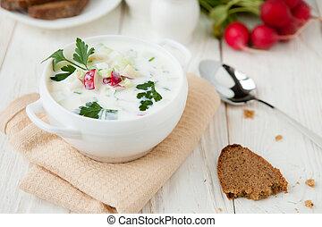 cold summer soup with yogurt, Russian Okroshka