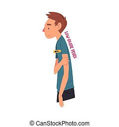 Cold Symptom, Man Having Low Grade Fever, Medical Treatment and Healthcare Concept Cartoon Style Vector Illustration