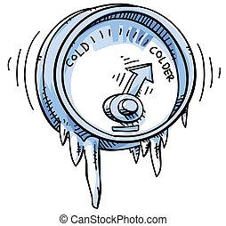 Cold Temperature - A cartoon temperature gauge showing cold...