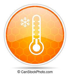 Cold thermometer web icon. Round orange glossy internet button for webdesign.