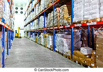 Cold warehouse - Frozen food at shelves in cold warehouse