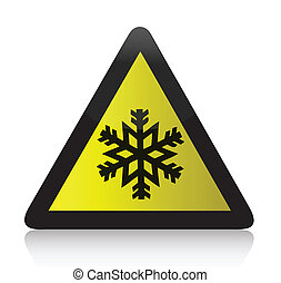 Cold Warning Triangular Sign illustration design over white
