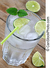 Cold water drink with ice cubes