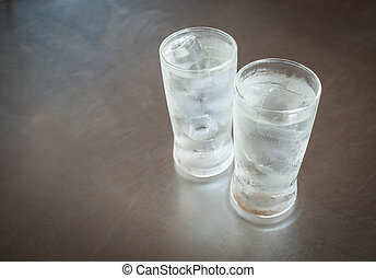 Cold water in a glass with ice cubes