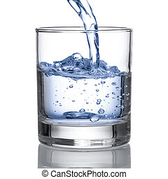 Cold water pour water to glass on white background