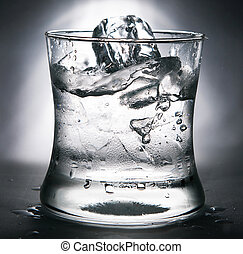 cold water with ice in a glass