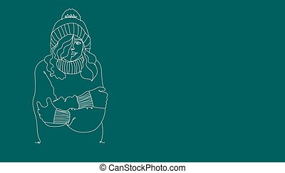 Cold weather. Banner Cute girl winter style - one line drawing. Vector illustration continuous line drawing.