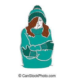 Cold weather. Cute girl - one line drawing. Vector illustration continuous line drawing.