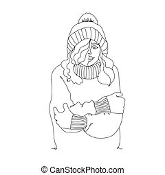 Cold weather. Cute girl winter style - one line drawing. Vector illustration continuous line drawing