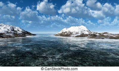 Cold weather ocean landscape