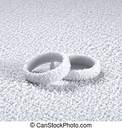 cold wedding rings - studio photography of two ice covered...