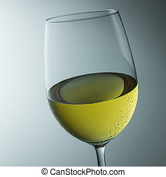 cold wine glass with dew