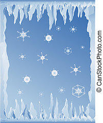 cold winter background - background with icicles and...