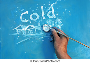Artist hand with paintbrush writing word Cold and painting winter landscape in childish manner on the blue board, concept winter